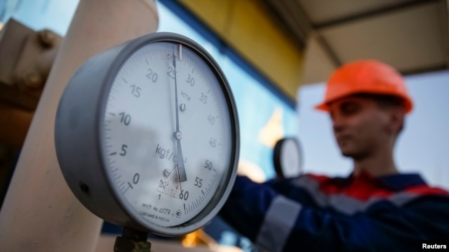 FILE - A pressure gauge is seen at a gas compressor station near Uzhhorod, western Ukraine.
