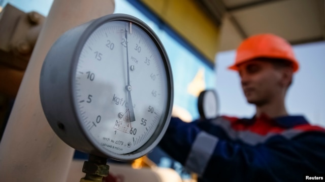 FILE - A pressure gauge is seen at a gas compressor station near Uzhhorod, western Ukraine, May 21, 2014.