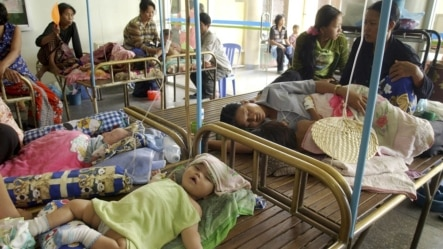 Cambodian infants sleep on beds in a crowded ward at Phnom Penh's National Pediatric Hospital, file photo.