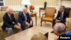 El presidente Barack Obama se reunió con los astronautas del Apolo 11 para conmemorar el 45 aniversario de la misión.