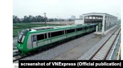Một đoàn tàu trong ga thuộc tuyến Cát Linh-Hà Đông chưa đưa vào sử dụng