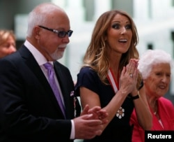 Celine Dion with late husband Rene Angelil in 2013.