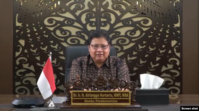 Menteri Koordinator Bidang Perekonomian Airlangga Hartarto. (VOA)