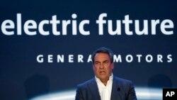 Mark Reuss, President, General Motors speaks at the GM Detroit-Hamtramck Assembly plant in Hamtramck, Mich., Jan. 27, 2020.