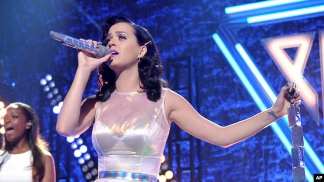 "Katy Perry performs at her iHeartRadio ""Prism"" album release party at the new iHeartRadio Theatre on Oct. 22, 2013, in Burbank, California."