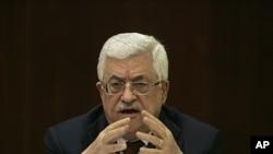 巴勒斯坦領導人阿巴斯星期天在西岸發表講話