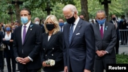 美國總統拜登及夫人在紐約州前州長科莫的陪同下參加紐約市911攻擊事件19週年的紀念活動(2020年9月11日)