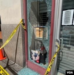 纽约华埠一家眼镜店被砸 陈作舟提供