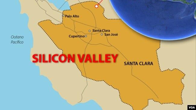 Bản đồ Thung lũng Silicon, bang California, Hoa Kỳ.