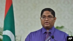 Maldives Attorney General Mohamed Anil speaks during a press conference in Male, Maldives, Wednesday, Nov. 4, 2015.