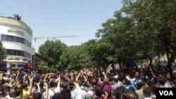 Hundreds of Iranians stage an anti-government protest in central Tehran, June 25, 2018 - the biggest such protest in years.