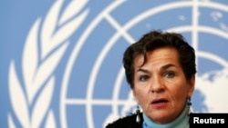 Kepala Kerangka Konvensi PBB Untuk Perubahan Iklim (UNFCC), Christiana Figueres di Jenewa (13/2).