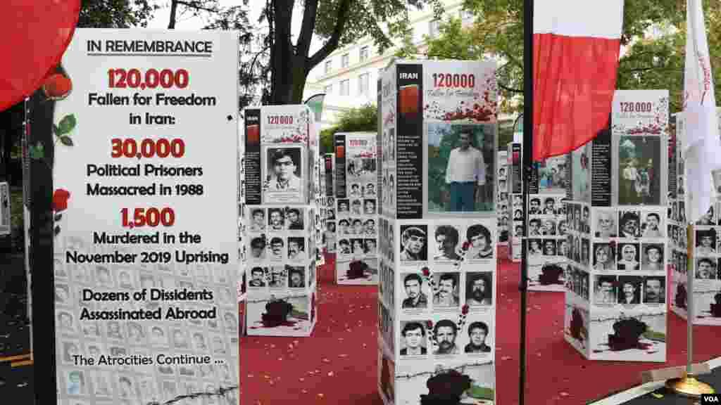 نمایشگاهی برای نشان دادن قتل عام ۳۰ هزار زندانی سیاسی در سال ۱۳۶۷، کشتار ۱۵۰۰ نفر در جریان اعتراضات سراسری نوامبر ۲۰۱۹ در ایران و محکوم کردن اعدامهای اخیر معترضان ضد رژیم توسط حکومت ایران، در خارج از ساختمان وزارت خارجه آمریکا در شهر واشنگتن برگزار شد.
