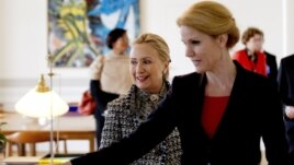 Danish Prime Minister Helle Thorning-Schmidt welcomes U.S. Secretary of State Hillary Rodham Clinton to Copenhagen.