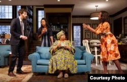 """""""Familiar,"""" Danai Gurira's play about a familial culture clash, just extended its run off-Broadway. (Photo courtesy of Joan Marcus)"""