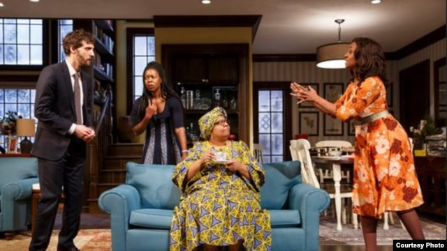 """Familiar,"" Danai Gurira's play about a familial culture clash, just extended its run off-Broadway. (Photo courtesy of Joan Marcus)"