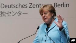 일본을 방문 중인 앙겔라 메르켈 독일 총리가 9일 도쿄 아사히 신문 본사에서 강연을 하고 있다.