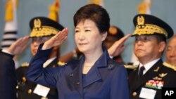Tổng thống bị phế truất Park Geun-Hye lúc còn tại chức, 1/10/2015.