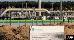 FILE - The Nord Stream 2 gas line landfall facility is seen in Lubmin, Germany, Sept. 7, 2020.