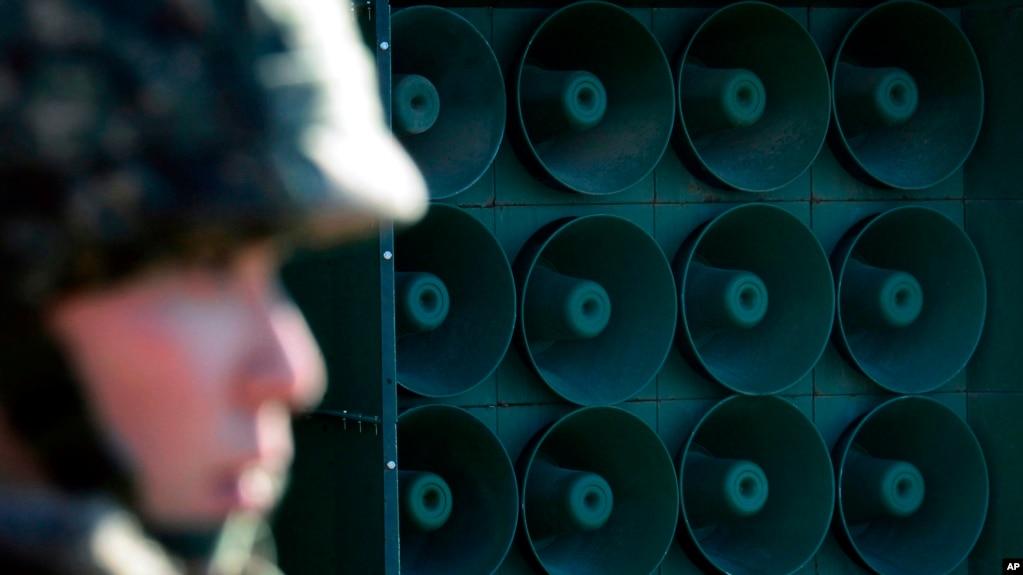 2016年1月韓國在非軍事區設置的高音喇叭(美聯社)