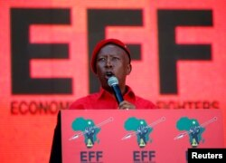 Julius Malema, leader of the opposition Economic Freedom Fighters (EFF) party addresses supporters at the party's final election rally ahead of the country's May 8 poll, in Johannesburg, South Africa, May 5, 2019.