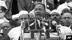 미국 민권운동 지도자 마틴 루터 킹 주니어 목사가 지난 1963년 8월 28일에 열린 워싱턴DC 대행진에서 '나에게는 꿈이 있습니다(I have a dream)' 연설을 하고 있다.