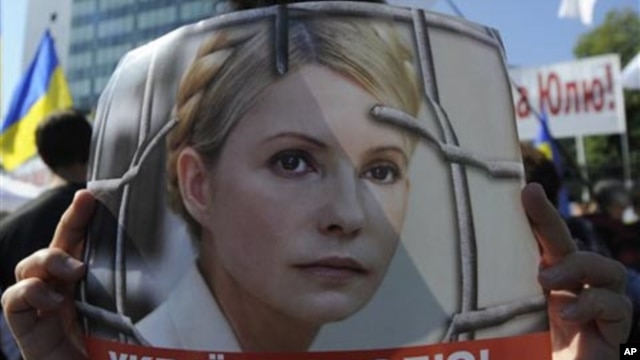 A supporter of former Ukrainian Prime Minister Yulia Tymoshenko hold posters depicting her during a rally outside the Appellate Court  in Kiev, Ukraine. (file photo)