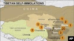 Map of self-immolations in Tibetan regions