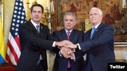 El vicepresidente de EE.UU., Mike Pence, prometió el lunes 25 de febrero de 2019 ante el Grupo de Lima, seguir apoyando a los venezolanos en el camino a la democracia.