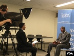 President Faustin-Archange Touadéra, recently elected to the Central African Republic, speaks with VOA's Jacques Aristide in New York. (VOA/ M. Besheer and C.Forcucci)