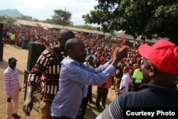 FILE: In this Sunday, March 4, 2018 photo, MDC-T party leader Nelson Chamisa addresses supporters, at a rally in Chinhoyi about 140 kilometres west of the capital Harare. Ahead of Zimbabwe's crucial elections this year, the biggest opposition party has been facing some internal squabbles though attracting thousands of people at public rallies.
