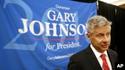 FILE - Libertarian presidential candidate Gary Johnson speaks at the National Libertarian Party Convention in Orlando, Fla.