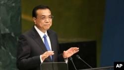 中国总理李克强在联合国大会上讲话。