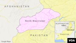 Peta wilayah Waziristan Utara, Pakistan.