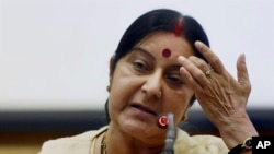 FILE - Indian External Affairs Minister Sushma Swaraj.