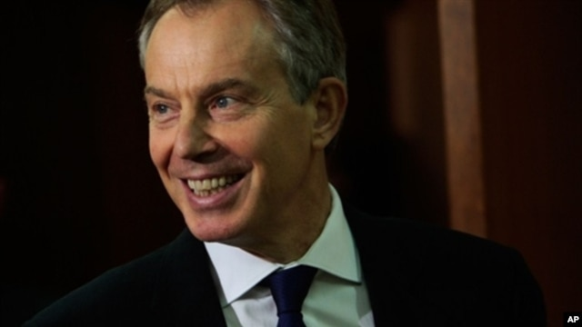Tony Blair, representing The Quartet on the Middle East enters the room for a meeting with UN Secretary General Ban Ki-moon at the United Nations in New York City,  9 Dec 2009
