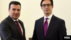 Bivši premijer Severne Makedonije i lider SDSM Zoran Zaev i predsednik Severne Makedonije Stevo Pendarovski.