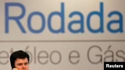 Menteri Pertambangan dan Energi Brazil, Fernando Coelho Filho, saat menghadiri pelelangan blok migas putaran ke-14, di Rio de Janeiro, Brazil, 27 September 2017.