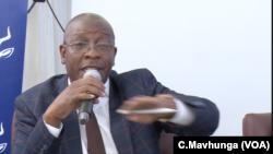 Ziyambi Ziyambi, Zimbabwe's justice minister, speaks at a public meeting in Chinhoyi town, May 10, 2019.