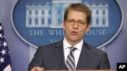 White House Press Secretary Jay Carney speaks during his daily news briefing at the White House in Washington, Tuesday, July, 31, 2012.