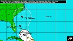 Predicted track of Tropical Storm Emily