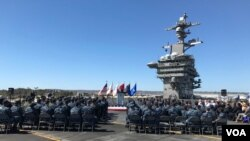 "U.S. Defense Secretary Ash Carter called the Asia-Pacific the ""most consequential region for America's future,"" during a speech aboard the USS Carl Vinson at port in San Diego on Thursday. (C. Babb/VOA)"