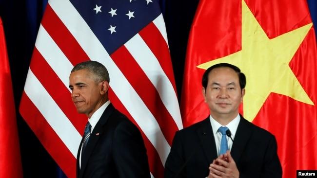 Tổng thống Mỹ Obama và Chủ tịch nước Trần Đại Quang, tháng 5/2016.