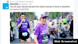Bà Harriette Thompson 92 tuổi về đích cuộc đua Rock 'n' Roll ở San Diego. (ảnh chụp từ trang Twitter của Rock 'n' Roll marathon)