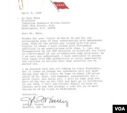 Một trong những bức thư tướng Vessey gởi ông Lê Xuân Khoa. (Hình: tác giả cung cấp)