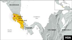(ຄລິກຮູບເພື່ອຂະຫຍາຍ) ບ່ອນເກີດແຜ່ນດິນໄຫວ ຢູ່ Costa Rica