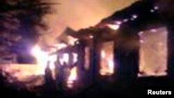 4月26日莫斯科北部的一家精神病醫院星期五發生大火﹐一位醫護人員拍攝的照片