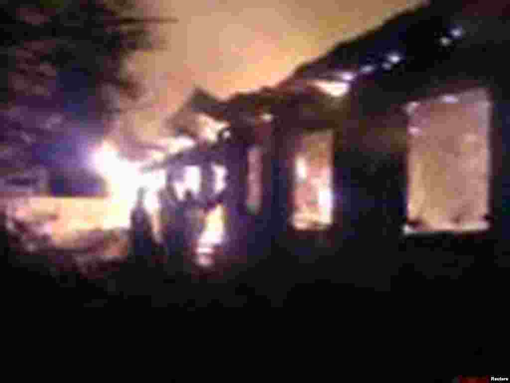 This image taken from video footage provided by the Russian Emergencies Ministry shows a fire at a psychiatric hospital north of Moscow, April 26, 2013 .