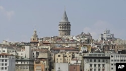 Historic Galata Tower in Istanbul, Turkey, July 21, 2010.