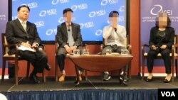 한국에 본부를 둔 대북인권단체들이 미국 워싱턴의 한국경제연구소(KEI)에서 북한인권에 대해 증언하는 행사를 열었다. 왼쪽부터 노체인 헨리 송 북미주대표, 탈북자 이철호,이우진, 최민경 씨.